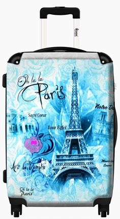 Suitcase Oh la la paris green Eiffel tower ,Carry on 20 inches,Harside Spinner by IKase, Multicolor Cute Luggage, Travel Luggage, Travel Bags, Tour Eifel, Paris Room Decor, Paris Theme, Lightest Suitcase, Global Warming Issues, Purses