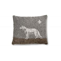 A decorative pillow of the Trophy  series. Double-side pillow, back - cotton front - woollen melange with embroiled wolf on.  The uneven texture of the yarn gives the image a unique character