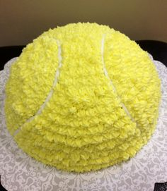 Tennis ball cake (yellow cake filled with strawberries)