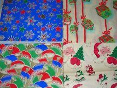 6 Vintage 50's unused Sheet Christmas Wrapping Paper Santa bells blocks (01/06/2012)