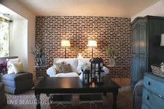 Easy faux brick wall made vintage. Brick Veneer Wall, Fake Brick Wall, Brick Accent Walls, Brick Walls, Faux Brick Panels, Brick Paneling, Brick Wall Wallpaper, Family Room Walls, House Inside