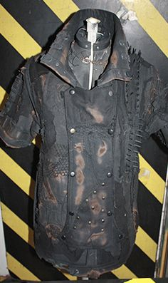 This vest is built to outlast the apocalypse! Bleach, rubber nails, ink, bolts, and many layers of fabric make up this chaotic peice for an aged and grotesque look. Post Apocalyptic Clothing, Post Apocalyptic Costume, Post Apocalyptic Fashion, Apocalypse Fashion, Post Apocalypse, Underground Clothing, Cyberpunk, Steampunk, Cool Outfits
