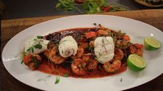 Steamed fillets of plaice with chilli garlic prawns