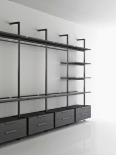 BROMPTON – designer Shelves from Boffi ✓ all information ✓ high-resolution images ✓ CADs ✓ catalogs ✓ contact ✓ find . Walk In Closet Design, Bedroom Closet Design, Wardrobe Design, Closet Designs, Dressing Room Closet, Dressing Room Design, Boffi, Shelving Systems, Shelving Design