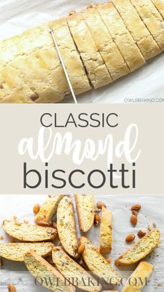 This is a classic, all butter Almond Biscotti recipe that is easy to make. These simple, crunchy Italian cookies are totally munchable and dunkable. Use this as your basic biscotti recipe to customize with chocolate chips, dried fruit and more! Biscotti Rezept, Biscotti Cookies, Biscotti Biscuits, Cream Cookies, Almond Recipes, Baking Recipes, Dessert Recipes, Cake Recipes, Best Biscotti Recipe