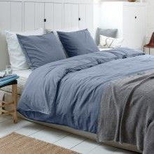 Walra duvet cover Stewart - stonewashed - jeans blue - bedroom styling - by www.walra.nl