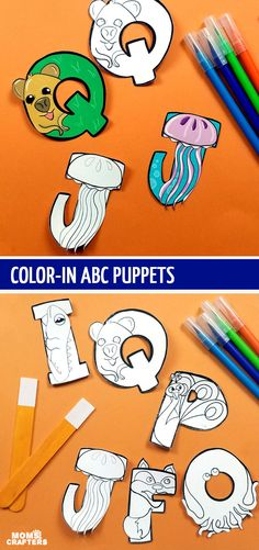 Toddler Crafts: Print color and craft these adorable ABC animals and alphabet puppets Credits: momsandcrafters.com
