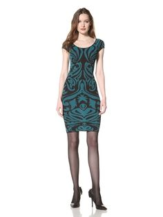 79% OFF Torn by Ronny Kobo Women\'s Stella Baroque Pointelle Dress (Teal)