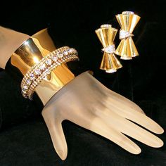 """Stunning Extra Wide 2 ¼"""" Vintage Rhinestone Runway  Cuff Bracelet & Clip Earring Set.  See me at the """"Vintage Jewelry Stars"""" shop at http://www.rubylane.com/shop/vintagejewelrystars!!"""