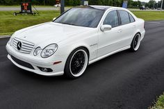 Mercedes-Benz W211 E55 AMG White on Black   BENZTUNING   Performance and Style Mercedes E55 Amg, New Mercedes, Sedans, Cars, Luxury, Classic, Black, Style, Cool Cars