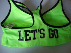 Victoria's Secret M Sports Bra Love Pink Yoga Padded Push Up Let's Go Neon Green | eBay