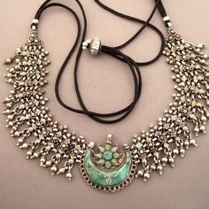 India | Silver and turquoise necklace from Bihar