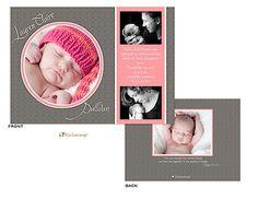 Little Lamb Design Elegant Pink Girl Photo Birth Announcement
