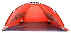Leader Accessories EasyUp Beach Tent Quick Cabana Sun Shelter Family UseSets up in Seconds Orange * You can find out more details at the link of the image.
