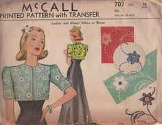 McCall 707; ca. 1938; Ladies' and Misses' Bolero and Blouse. Featured in McCall Style News, June 1938. | Vintage Patterns Wikia