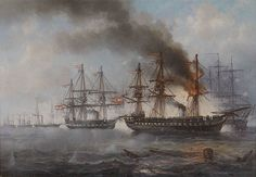 The Naval Battle of Helgoland by Josef Carl Berthold Püttner frigate 'Radetzky' is to the behind the burning Austrian frigate 'Schwarzenberg') Military Diorama, Military Art, Military History, Europe Day, Ship Of The Line, Today In History, Nautical Art, Battle Fight, Navy Ships