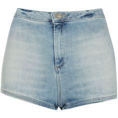 TOPSHOP MOTO Bleach 50s Hotpants (€25) ❤ liked on Polyvore featuring shorts, bottoms, short, pants, bleach stone, hot short shorts, bleaching high waisted shorts, highwaist shorts, high rise shorts and bleached shorts