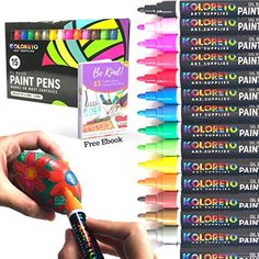 Paint Markers for Rock Painting - Oil Based Ink in 15 Vibrant Colors with Metallic Gold and Silver - Good for Crafts on Glass Mugs Wood Metal and Paint Pens, Paint Markers, Diy Painting, Rock Painting, Recycled Crafts Kids, Diy Crafts, Painted Paper, Easy Paintings, Stone Art