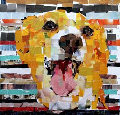 "Corgie. Collage on Canvas. 30 x 30"" 2012. Artist: Samuel Price www.mydogcollage.com"