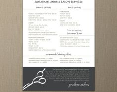 "Modern Hair Stylist or Barber Service Menu / Salon Price List 5"" x 7"" Flat Card"