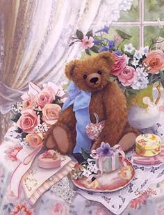 Rios Susan Rios Moments Love From Teddy 2000 Lithograph Multi-Color Canvas Art Tatty Teddy, Decoupage, Diy Birthday Gifts For Him, Art D'ours, Cottage Art, I Believe In Pink, Bear Art, Beautiful Paintings, Belle Photo