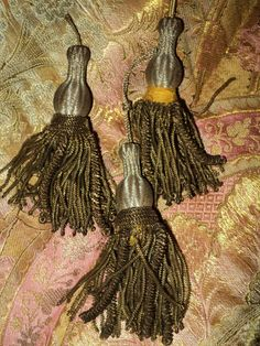 Antique French Roccoco Metallic Bullion Tassels Caterpillar Fringe Bronze 3 each