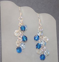 Cluster dangle earrings with czech glass beads in sapphire, light blue, and crystal