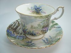 Royal Albert Tea Cup and Saucer, Country scenes Bluebell Wood tea cup and saucer set. by BeadsbyVince on Etsy https://www.etsy.com/ca/listing/483918743/royal-albert-tea-cup-and-saucer-country