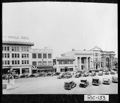 Augusta, 1930s.; View of Broad Street. Building to the far left houses the Augusta Herald. — with Gary Lee Hagerman Jr. Before my time! Look at the cars and the newspaper building still looks that way. On the far right was the GA RR Bank building.