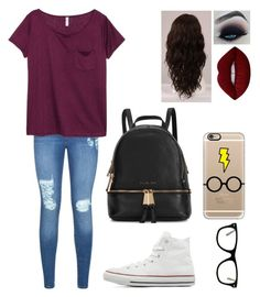 """""""When you say you love me know I love you more."""" by blessed-with-beauty-and-rage ❤ liked on Polyvore featuring Lipsy, H&M, Converse, Michael Kors, Muse, Casetify, WigYouUp and Lime Crime"""