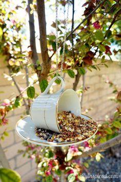 Teacup Bird Feeder Repurposing Idea