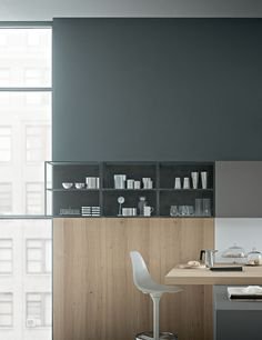 Zampieri - #Fifty kitchen in talcum white extra mat lacquer and dust grey extra mat lacquer.
