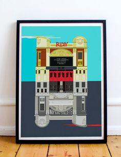 Ritzy Cinema Brixton : Electric Pavilion Illustrated Art Print of London. by EyeForLondonPrints