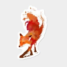 c2332c3f5 Vulpes Vulpes Sticker By AstronautARC Design By Humans Watercolor Fox,  Watercolor Paintings, Fox Shirt