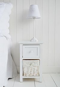 Bar Harbor White Small Narrow Bedside Table 25cm Wide Slim