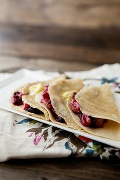 Butter and honey crepes with roasted blueberries and rhubarb