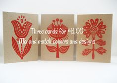 Flower Lino print Greetings cards Three for by TheRedButtonPress