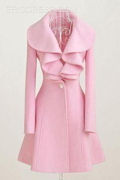 L'arrivée de nouveaux exquis couleur Falbala manteaux de laine Coat