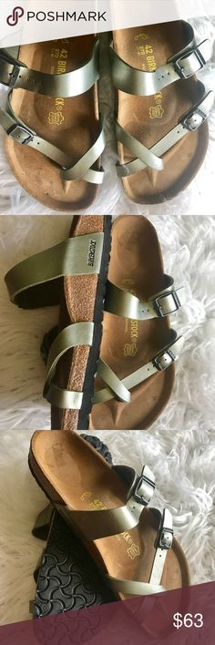 """Like New! Birkenstock MAYARI 42 $63 FIRM Customer return pretty much new but might have been tried on. Please look at pictures for a more accurate description. No tags or box. Size 42 Mayari, if I am correct this color is """"titanium"""" No returns so please know your size in Birks before ordering. I can only guarantee I will be sending the European size stated on the listing. All items are inspected throughly and filmed before shipment. Price is FIRM  Sorry no free shipping Birkenstock Shoes…"""