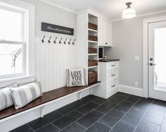 A mudroom or an entryway is usually a small space that needs a lot of storage to hold lots of stuff. We've gathered lots of small mudroom storage ideas for you. House Design, Mudroom, House, Interior, Home, Entry Way Design, Mudroom Design, Bench Designs, Mudroom Laundry Room