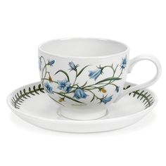 The generous cups and saucers in this Portmeirion Botanical Garden Assorted Traditional Breakfast Cups and Saucers - Set of 6 are designed for. Cup And Saucer Set, Tea Cup Saucer, Tea Cups, Coffee Cups, Traditional Teacups, Earthenware, Stoneware, William Ellis, Breakfast Cups