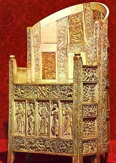 Byzantine- hand carved chair with religious christian motifs and elaborated leaf patterns