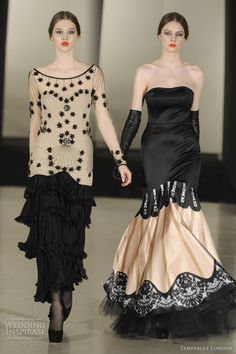 Temperley, Fall 2011 (like the idea of the skirt on the right, nude with black lace detail border) Modern Fashion, Love Fashion, Fashion Design, Fashion Outfits, Womens Fashion, High Fashion, Fallen London, 2015 Wedding Dresses, Dream Dress
