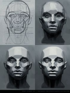 René Aigner's Sketchbook via PinCG.com head - constructive drawing - faceted - volumes