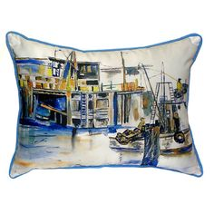 Betsy Drake Interiors Fishing Boat colored 20-inch x 24-inch Throw Pillow