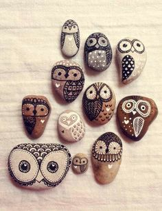 Hand-painted owl rocks