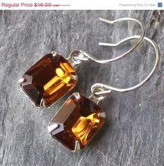 Amber topaz jewel earrings.