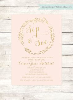 pink gold sip and see baby shower by posypaperprintables on Etsy