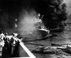 USS California sinking into Pearl Harbor