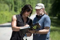 The Walking Dead. On the set